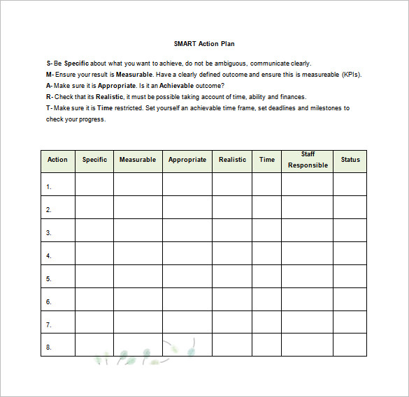 Printable Doc Formatted Smart Action Plan Sample Word Template Free Download  Action Plan Templates Word