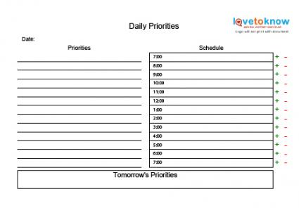 priorities template