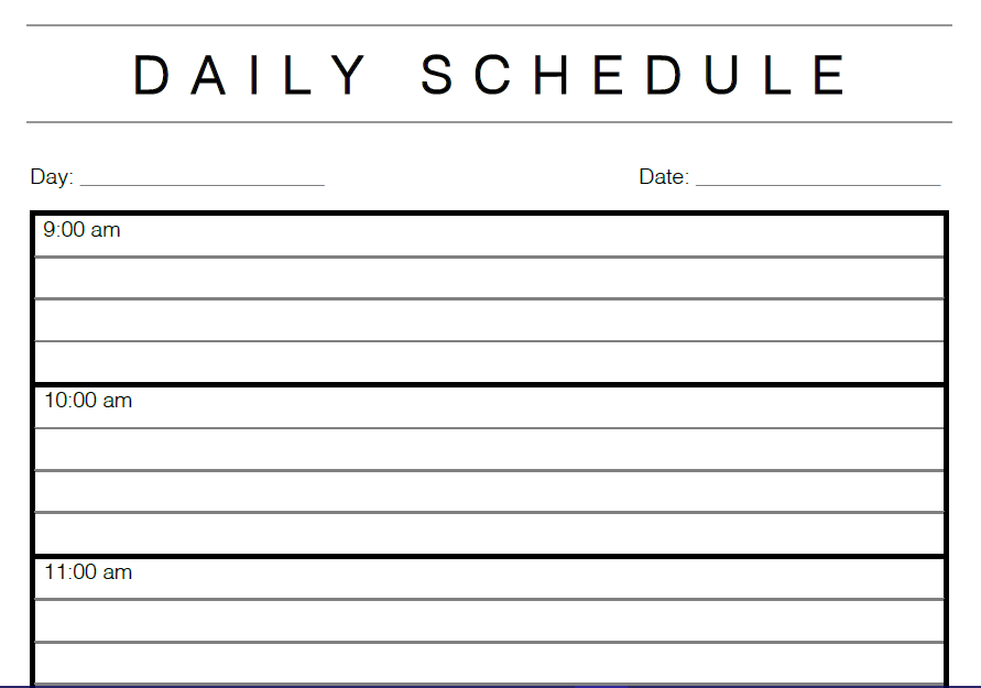 time management templates doc daily calendar template example