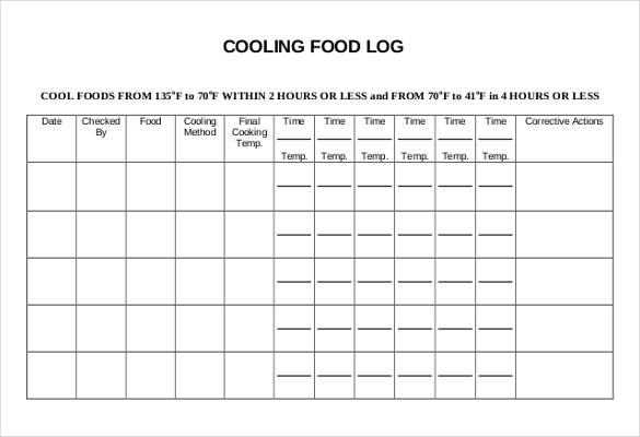 CoolingFoodLogTemplatesTemplatePdfDoc  RyanS Marketing Blog