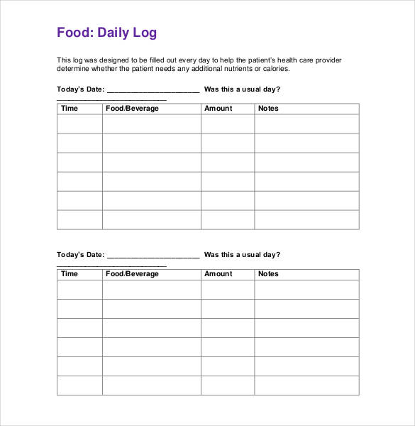 It is a graphic of Food Log Printable for 7 day