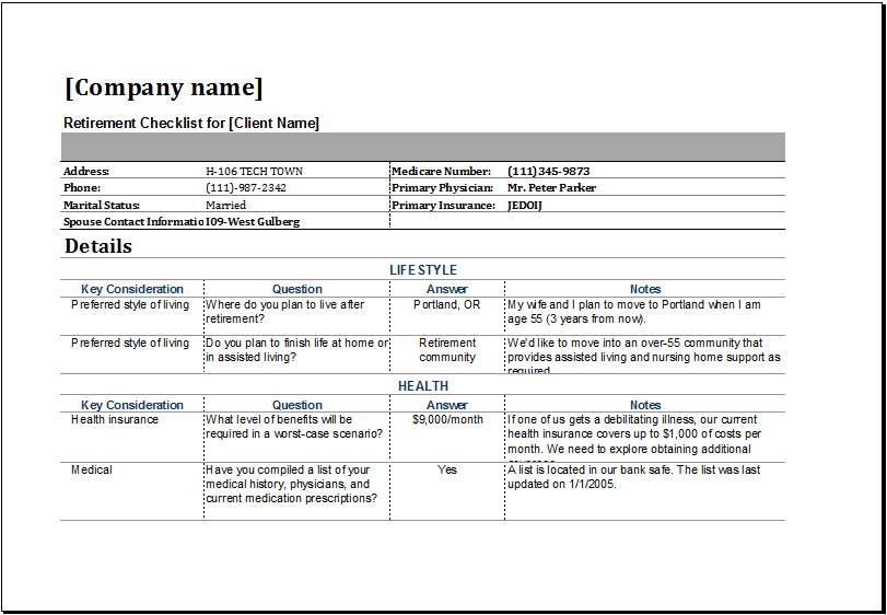 retirement checklist template ryan s marketing blog