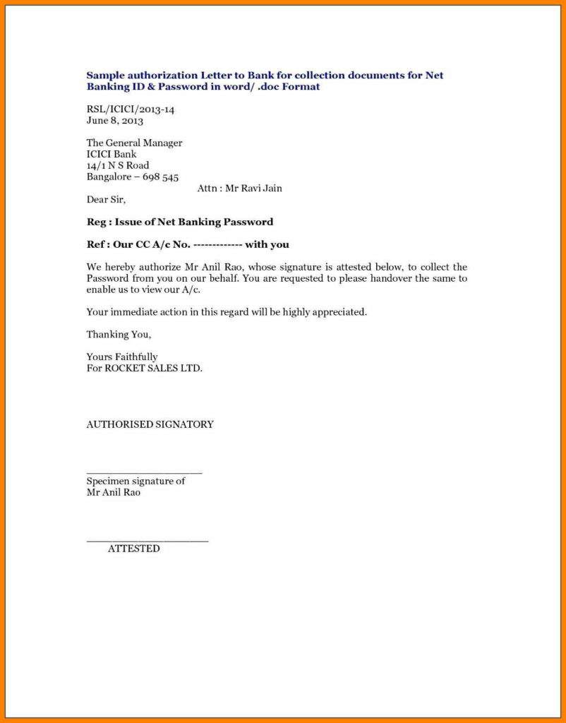 Authorization Letter For Internet Templates